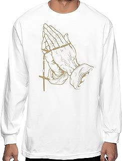 Praying Hands T Shirt Long Sleeve Crew Tee Blessed Rosary 6 Urban Wear Pray 4 me