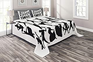 Ambesonne Black and White Coverlet, Dancers Silhouette Modern Latin Hip Hop Tango Jazz Ballroom Salsa, 3 Piece Decorative Quilted Bedspread Set with 2 Pillow Shams, Queen Size, Black and White