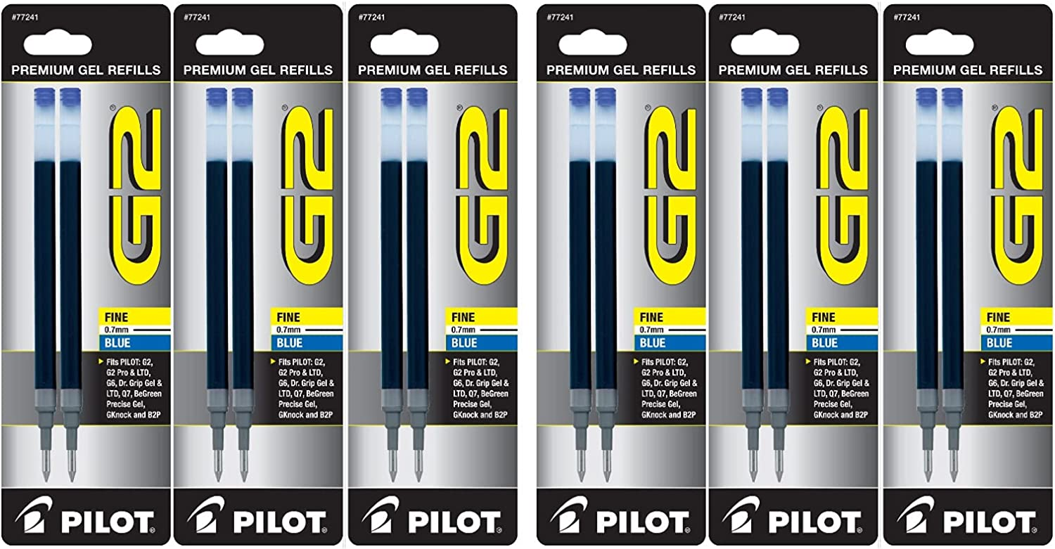 Value Pack of 6 - NEW before selling ☆ 4 years warranty Pilot G2 for Ba Ink Gel Refill Rolling 2-Pack
