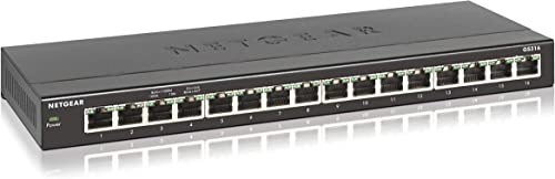 NETGEAR (GS316) Switch Ethernet 16 Ports RJ45 Métal Gigabit (10/100/1000), switch RJ45 Format Bureau ou mur, Boitier ...