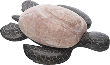 SS Handcrafted Art Natural Turtle Hinged Top Pewter Grey 9 inch Carved Marble Jewelry Box