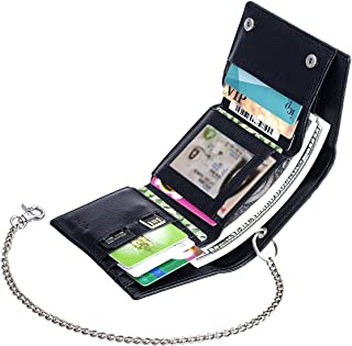 ManChDa Multiple Slits Three Breaks RFID Blocking Black Leather Small Size Wallet with one Removable Chain
