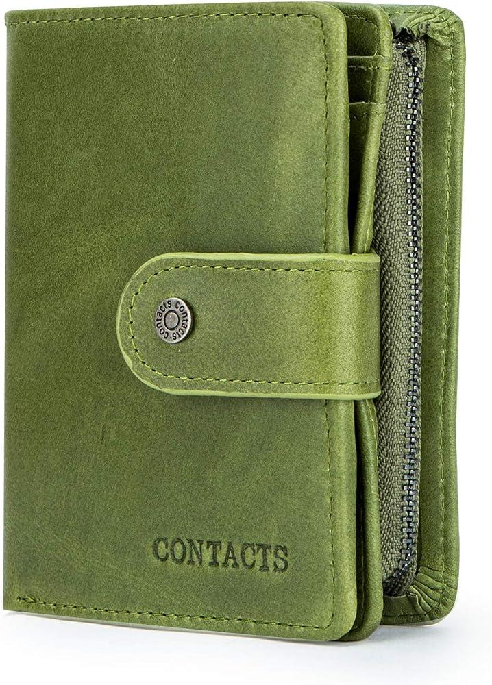 Fandare, portafoglio, porta carte di credito unisex, in pelle, con blocco rfid AK-BY005