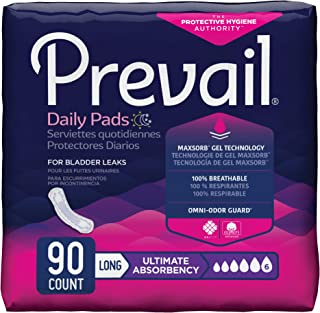 Prevail Ultimate Absorbency Bladder Control Pads for Women, Long, 90 Count
