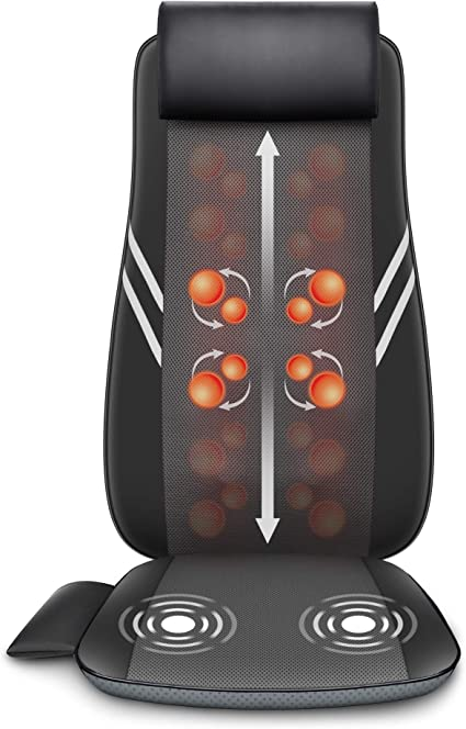 Snailax Shiatsu Back Chair Massager - Rolling Kneading Massage Seat Cushion with Heat, Massage Chair Pad, Electric Body Massager for Back, Gift for Mom Dad: image