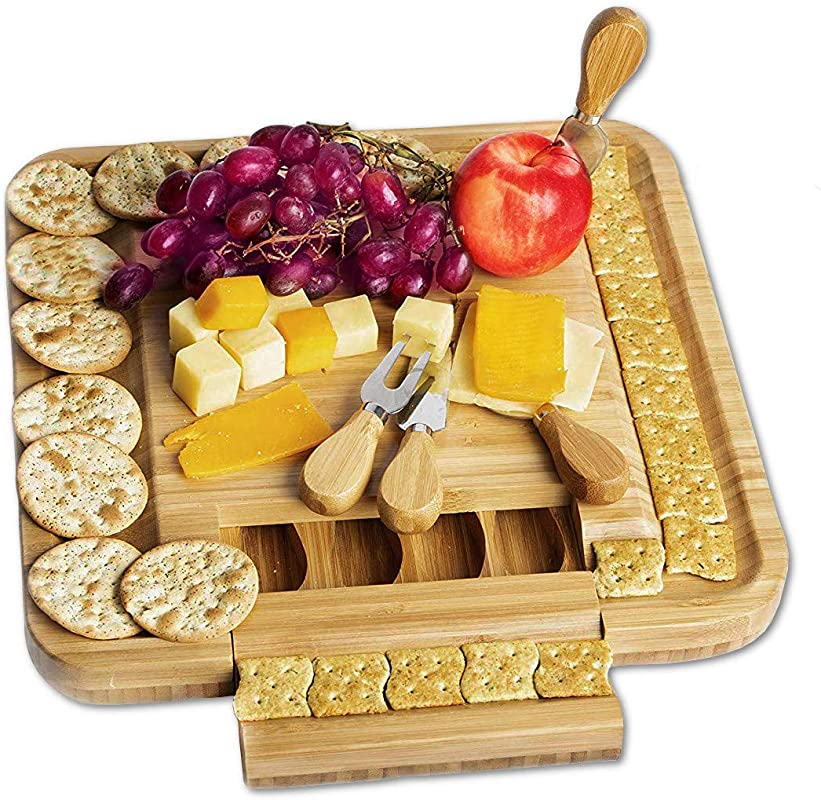 Natural Bamboo Cheese Board Charcuterie Platter With A Hidden Drawer For Cutlery Set Unique Housewarming Gifts For Women Mothers Men Weddings Birthday Gifts Perfect Christmas Gift Idea