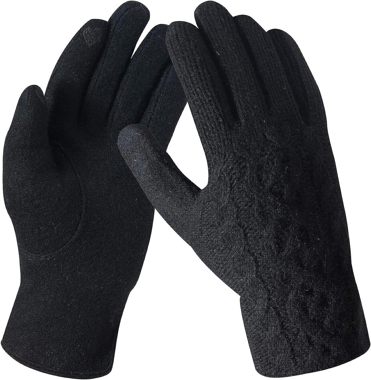Women's Winter Wool Knit Gloves Touchscreen Hand Warmer with Warm Fleece Lining