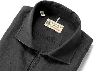ルイジボレッリ ルイジボレリ LUIGI BORRELLI / 20SS!製品洗いリネンポプリン無地カプリシャツ「BACIATO(9130)」 (ブラック) メンズ
