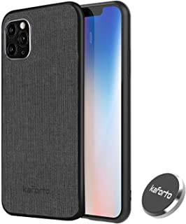 for iPhone 11 Pro Magnetic Case Fabric Pattern Anti-Scratch Shockproof Protective Cover with Magnetic Car Phone Holder Mob...