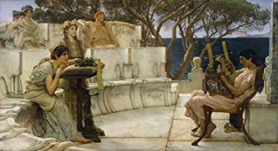 Sir Lawrence Alma-Tadema - Sappho and Alcaeus, Size 20x36 inch, Gallery Wrapped Canvas Art Print Wall décor