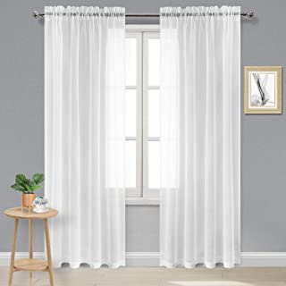DWCN White Sheer Curtains Semi Transparent Voile Rod Pocket Curtains for Bedroom, Living Room and Kitchen, 52 x 84 inches Long, Set of 2 Panels