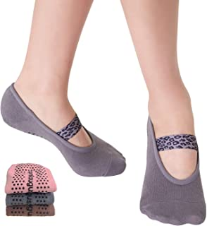 Aprilaugust Yoga Socks with Non Slip Grips & Leopard Strap, Perfect for Pilates, Barre, Ballet, Barefoot training