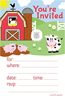 Farm Animals Invitations - Birthday or Baby Shower - Fill In Style (20 Count) With Envelopes