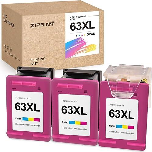 discount ZIPRINT Remanufactured Ink Cartridge Replacement for HP 63 63XL ECO-Saver for OfficeJet 3830 3630 3631 sale 3632 4650 4652 4655 5252 5255 5258 DeskJet outlet sale 1112 2130 2132 Envy 4520 4512 (3 Tri-Color) sale