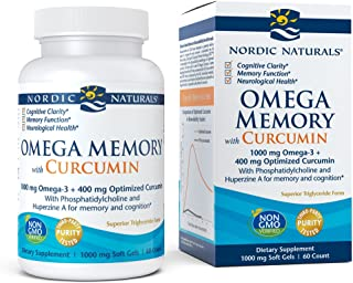 Nordic Naturals Omega Memory Curcumin - Supports Optimal Brain Health, Cognitive Clarity, Memory Function, 60 Soft Gels