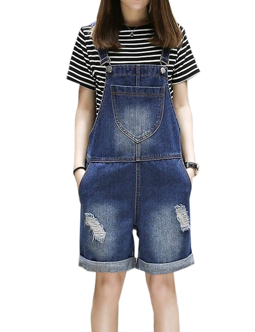 Flygo Womens Loose Bib Denim Adjustable Strap Roll up Cuffs Short Jeans Overalls