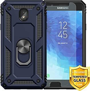 TJS Phone Case for Samsung Galaxy J2 Core/J2 2019/J2 Pure/J2 Dash/J2 Shine, with [Tempered Glass Screen Protector][Impact Resistant][Defender][Metal Ring][Magnetic Support] Heavy Duty Armor (Blue)