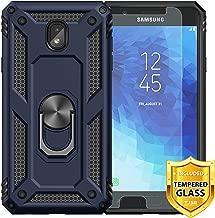 TJS Galaxy J3 2018/J3 V 2018/Express Prime 3/J3 Star/J3 Orbit/J3 Achieve/J3 Prime 2/Sol 3 Phone Case, with [Tempered Glass Screen Protector][Defender][Metal Ring][Magnetic][Support][Armor] (Blue)