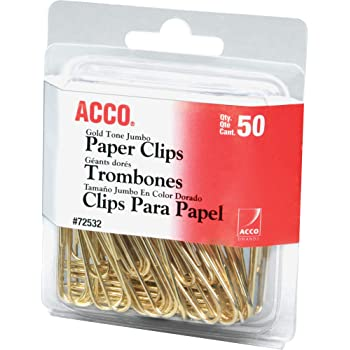 ACCO Paper Clips, Jumbo, Smooth, Gold, 50 Clips/Box (72532)