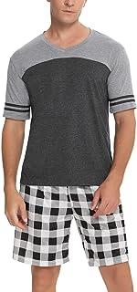 Aibrou Men's Pyjamas Sets, Short Sleeve Top & Shorts, Loungewear Set for Men Cotton Pjs Sets Soft Sleepwear Suits Nightwea...