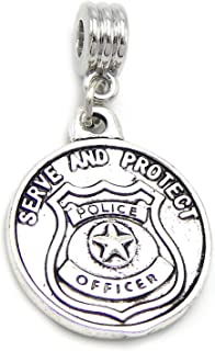 GemStorm Silver Plated Dangling Serve and Protect Police Badge Pendant For European Snake Chain Bracelets