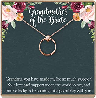 Grandmother of The Bride Gift Necklace: Grandma Wedding, Shower, Rehearsal Dinner, 2 Linked Circles