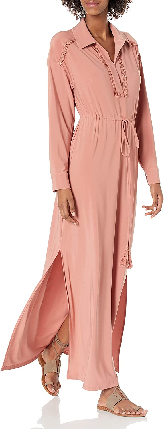 2020A W新作送料無料 Taylor Dresses Women's Long Sleeve Dres Jersey Solid Maxi 売り出し V-Neck
