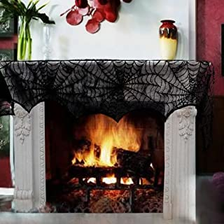 Hiseanllo Halloween Fireplace Mantle Decoration Black Lace Spiderweb Scarf Cover Festive Party Supplies, Doorway Window for Halloween Decor 18x96 Inches