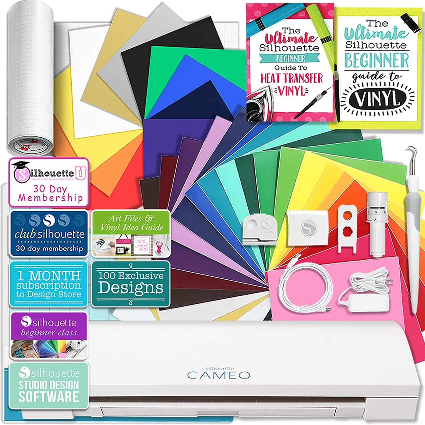 Silhouette CAMEO 3 Bluetooth Creative Bundle with 24 Oracal Permanent 651 Sheets and 12 Siser Easyweed Heat Transfer Sheets