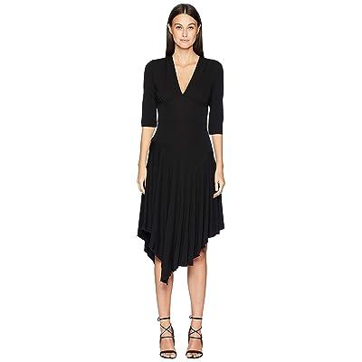 Nicole Miller Stretchy Matte Jersey Asymmetrical Dress (Black) Women