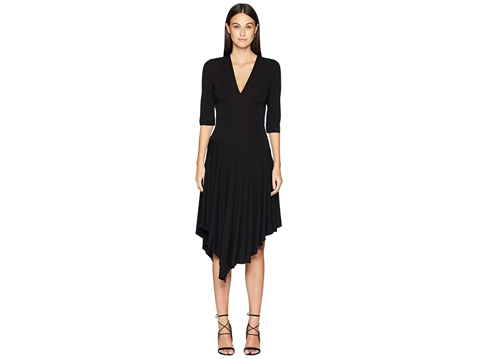 Nicole Miller Stretchy Matte Jersey Asymmetrical Dress (Black) Women