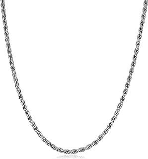 Kooljewelry Men's Sterling Silver 2.8 mm Rope Chain Necklace