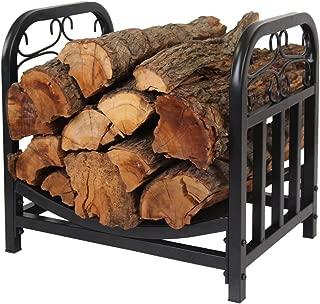 PATIO WATCHER Firewood Rack Log Bin Firewood Storage Holder for Indoor Outdoor Backyard Fireplace Heavy Duty SteelBlack