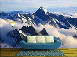 wall26 - Landscape of Mountain Cook Peak with Mist from Helicopter, New Zealand - Removable Wall Mural | Self-Adhesive Large Wallpaper - 100x144 inches