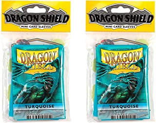 Dragon Shield Bundle: 2 Packs of 50 Count Japanese Size Mini Card Sleeves - Turquoise Color