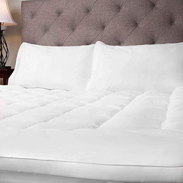 Sweet Home Collection Fiber Mattress Topper Hypoallergenic Polyester Down Alternative Soft And Comfortable Cover With Anchor Bands King White