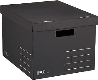 コクヨ 収納ボックス NEOS Lサイズ フタ付き ブラック A4-NELB-D