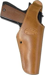 Barsony New Tan Leather OWB Belt Clip Holster for Full Size 9mm 40 45