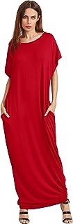 Verdusa Women's Short Sleeve Casual Loose Long Maxi Dress with Pockets