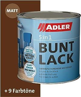 ADLER 5in1 Buntlack für Innen und Außen - Matt - 125ml- Wetterfester Lack und Grundierung für Holz, Metall & Kunststoff RAL8011 Nussbraun