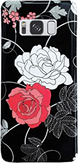 J.west Case for Galaxy S8,Vintage Floral Design Case for Women Girls Cute Flowers Black Slim Soft TPU Rubber Bumper Silicone Protective Phone Case Cover for Samsung Galaxy S8 5.6 Inch