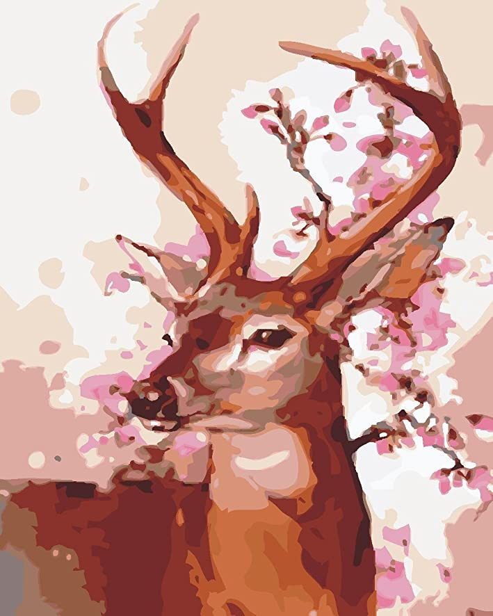 LB DIY Oil Painting for Adults Kids Paint By Number Kit Digital Oil Painting Deer 16X20 Inches