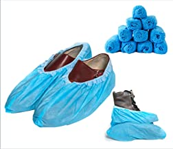 Blue Shoe Guys Disposable Waterproof Boot & Shoe Covers, 100 Pack (50 Pairs) | Non Slip Foot Booties, Indoor/Outdoor, Protects Carpets/Floors | Large Size Fits Most - upto US Men 11.5 Women 12.5