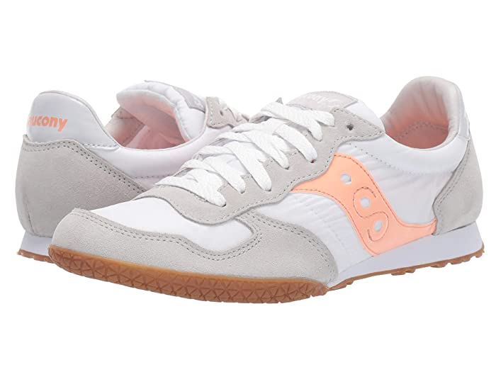 Retro Sneakers, Vintage Tennis Shoes Saucony Originals Bullet WhitePinkGum Womens Classic Shoes $54.95 AT vintagedancer.com