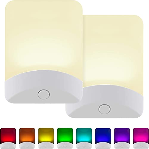 GE Color-Changing LED Night Light, 2 Pack, Plug-in, Dusk-to-Dawn, Home Décor, for Kids, Ideal for Bedroom, Bathroom, ...