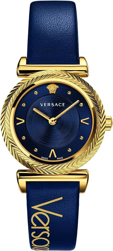 Versace v-motif orologio da donna con cassa in acciaio dorato e cinturino in vera pelle VERE00218