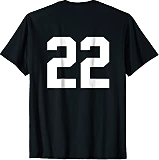 22 Sports Jersey Number Back T-Shirt for Team Fan Player #22