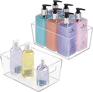 mDesign boite de rangement avec poignées intégrées (lot de 2) – caisse de rangement transparent avec un beau design – boit...