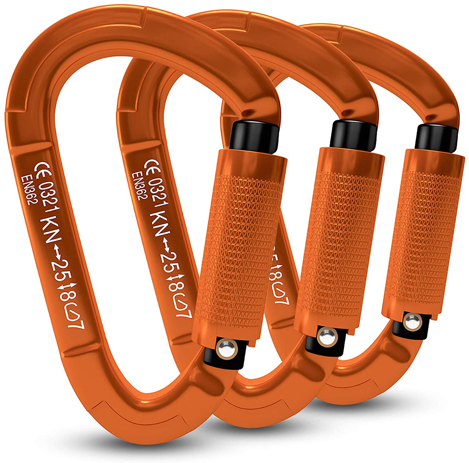 FVW 3 Pieces Heavy Duty Tucson Mall Max 81% OFF Climbing R Auto 25KN Carabiners Locking