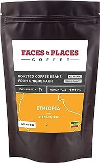 Organic Whole Bean Coffee, Medium Roast by Faces & Places Coffee (Ethiopian Yirgacheffe Arabica, 8 Oz)